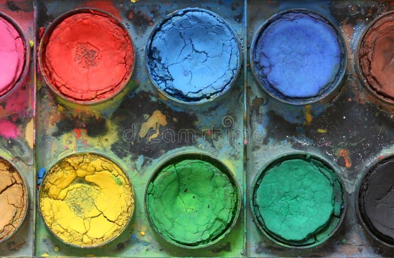 配件箱颜色老油漆使用的非常水 免版税库存照片