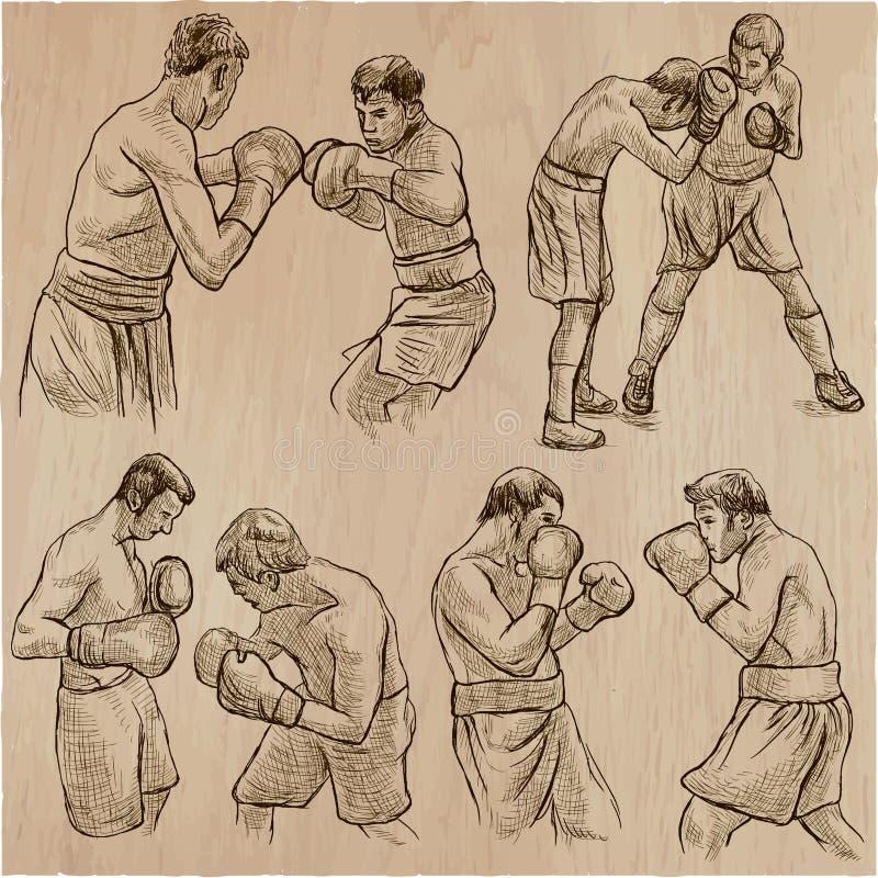 配件箱 拳击体育 一些的拳击位置的传染媒介汇集 库存例证