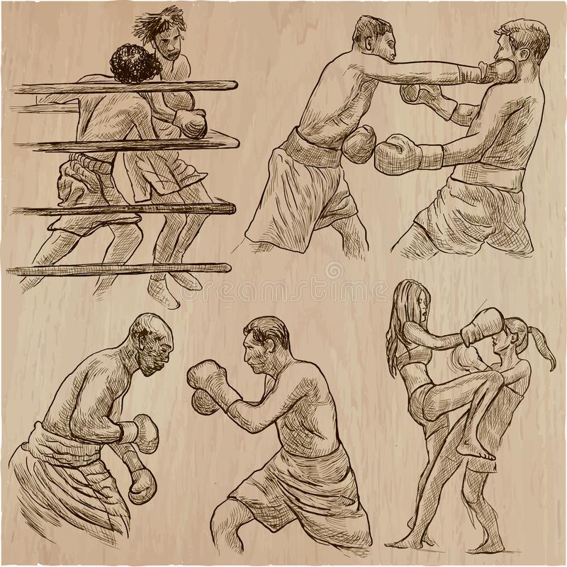 配件箱 拳击体育 一些的拳击位置的传染媒介汇集 向量例证
