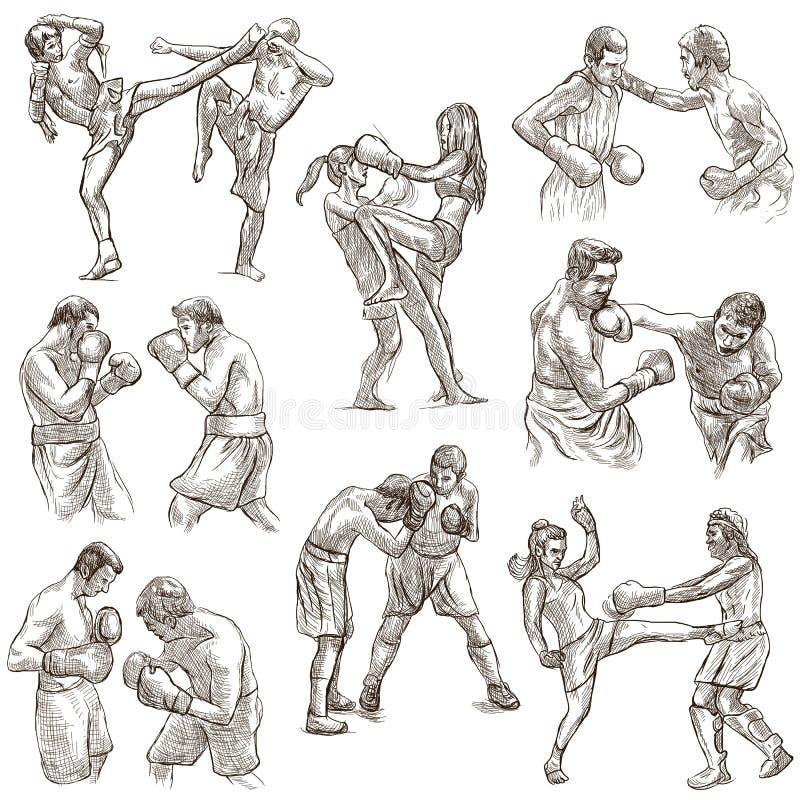 配件箱 拳击体育 一些sportm的拳击位置的汇集 向量例证
