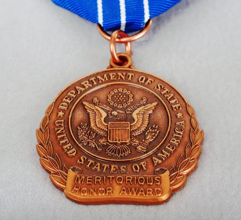 配受奖赏证书的荣誉称号 免版税库存照片