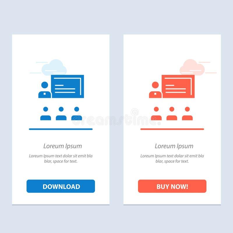 配合、事务、人、领导、管理蓝色和红色下载和现在买网装饰物卡片模板 向量例证