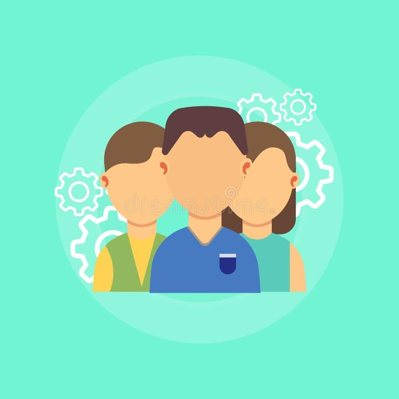 配合一起商人标志 专业队人小组传染媒介 统一性合作工作成功连接 向量例证
