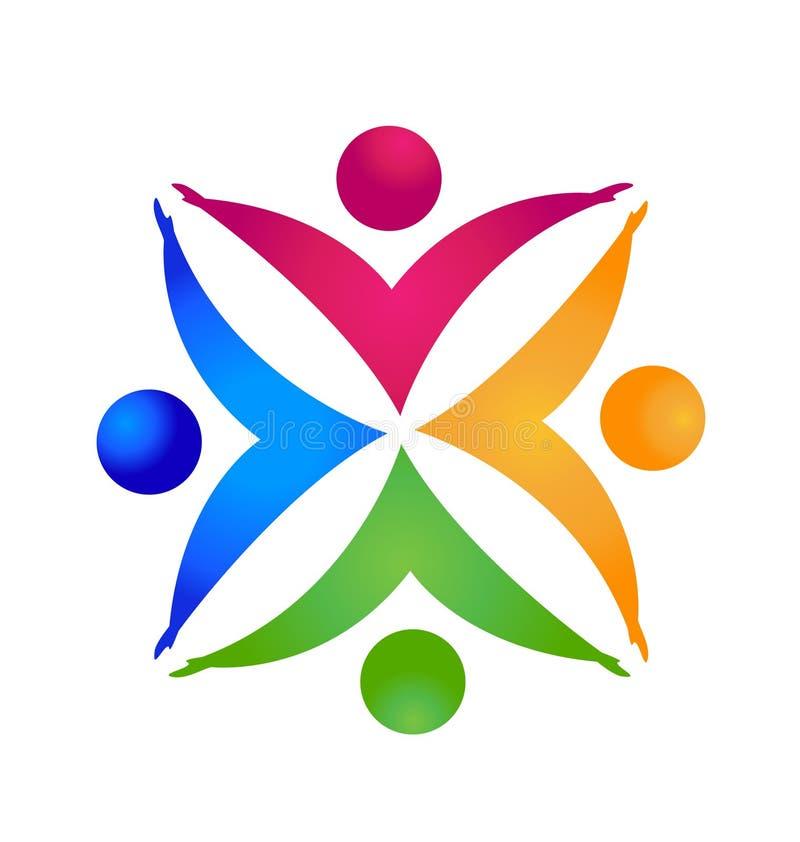 配合五颜六色的人民 成功、社交、社区和合作标志导航象 皇族释放例证