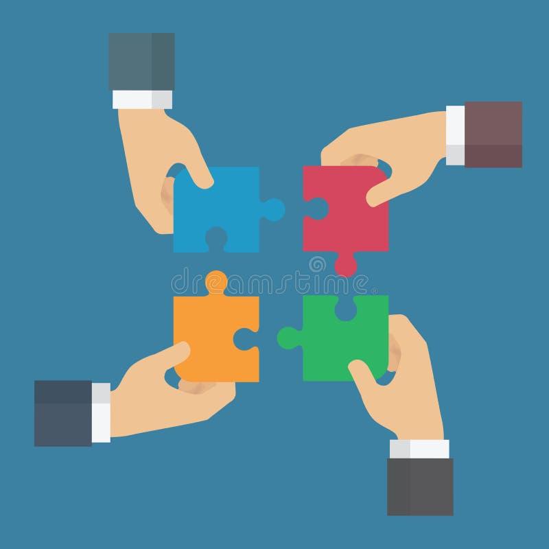 配合做梦想工作 大厦企业概念建筑组难题配合 四个商人连接的难题元素 的标志, c 库存例证