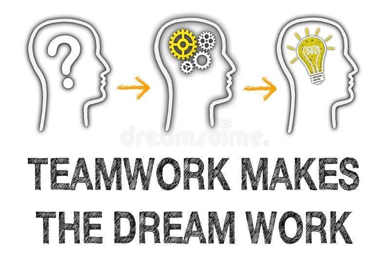 配合做梦想工作 向量例证
