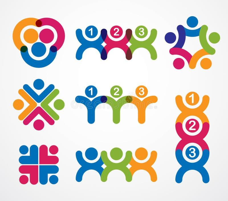 配合商人团结和合作概念创造与 向量例证