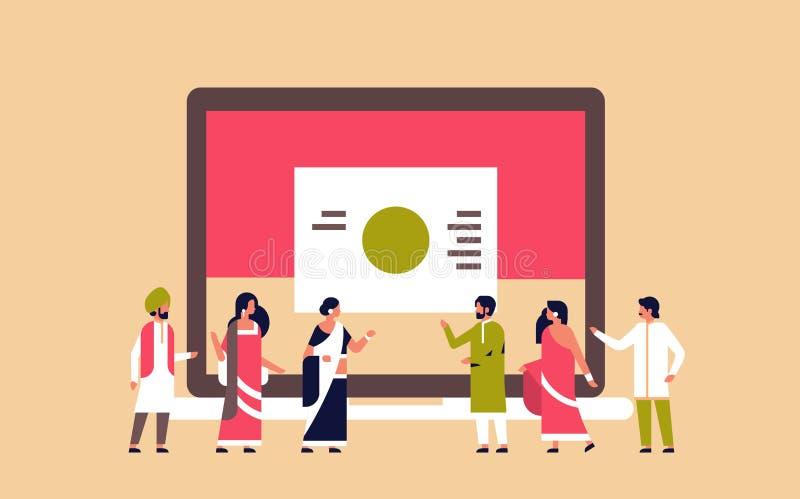 配合成功的战略概念平的横幅的印地安人企业介绍图图表 皇族释放例证