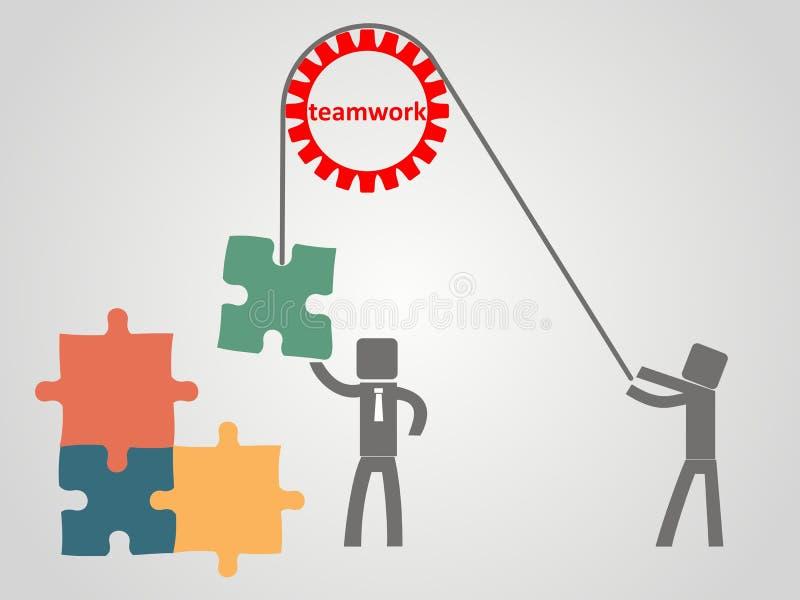配合概念-雇员提高在绳索的难题 库存例证