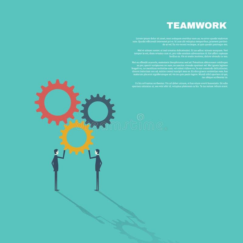 配合的企业概念在现代平的设计传染媒介例证的 装配齿轮的两个商人 向量例证