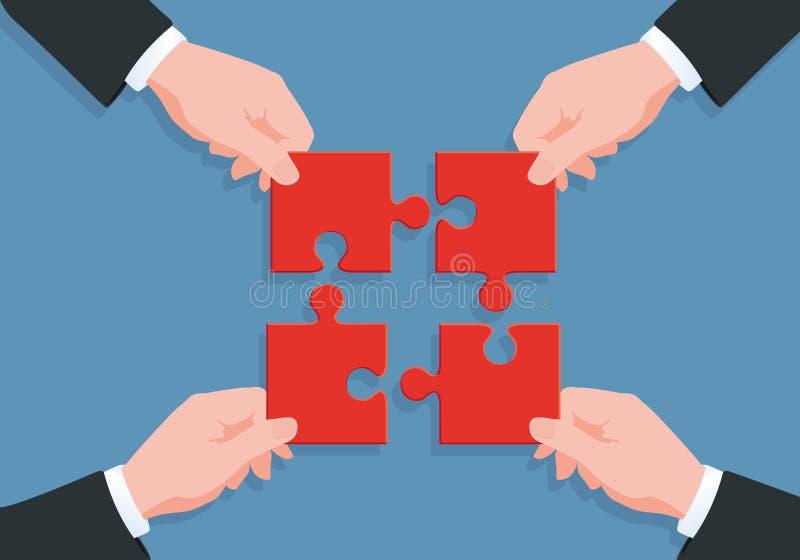 配合的标志用四只手带来难题的片断的其中每一个解决问题找到方法 向量例证