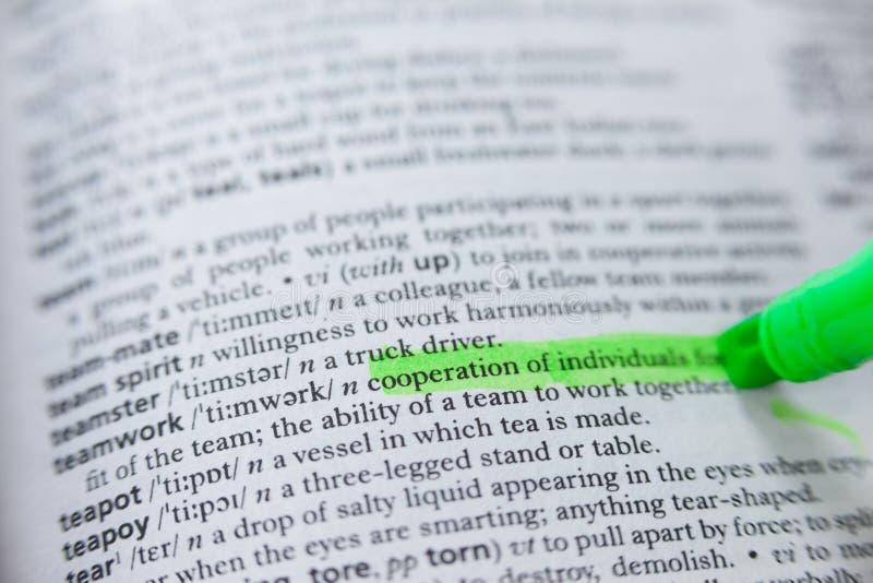 配合的被突出的定义在字典的 库存照片