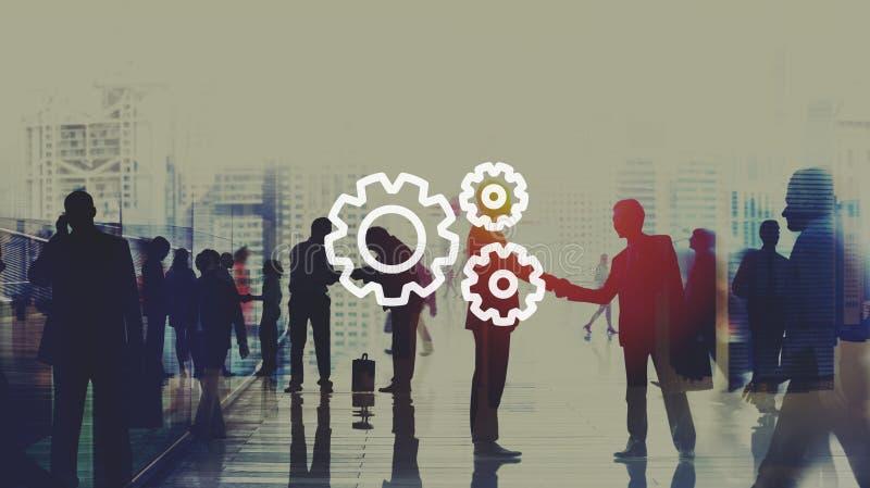 配合队合作连接齿轮组织 库存例证