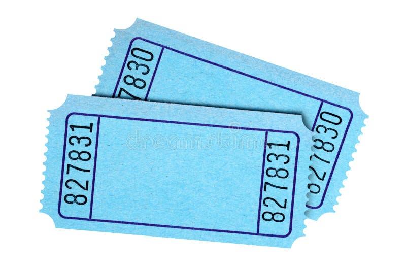 配对在白色背景隔绝的空白的蓝色票 免版税库存照片