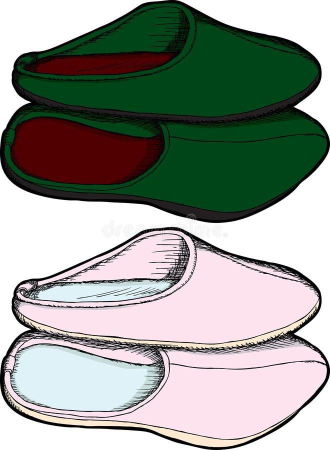 配对拖鞋 库存例证