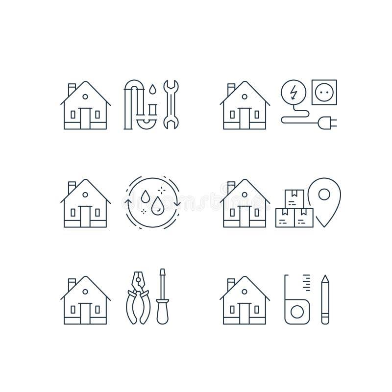 配管修理, p陷井障碍物,电服务,家庭清洁,移动的房子,箱子交付,家庭维护,传染媒介冲程象 库存例证
