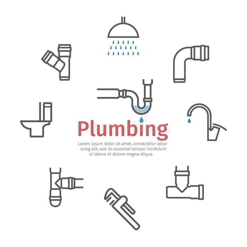 配管横幅,水管,污水线象集合 r 库存例证