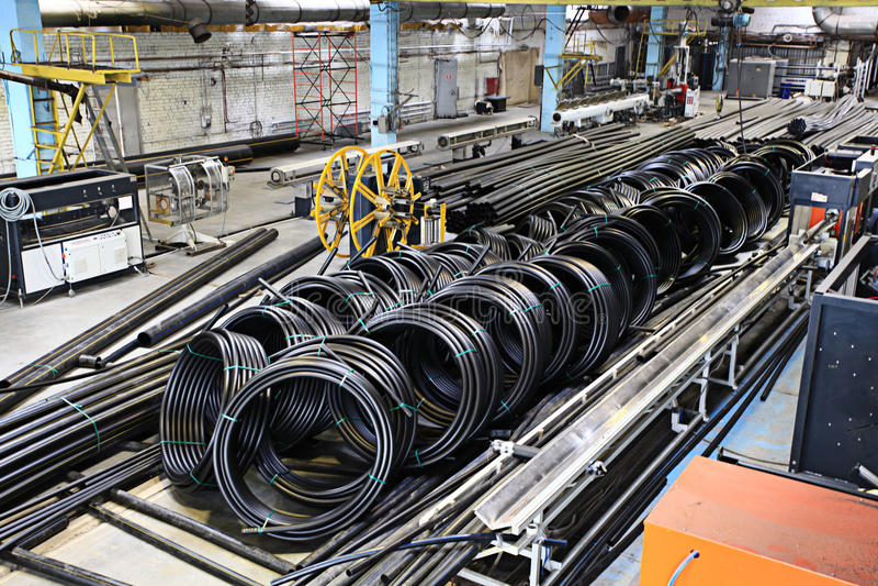 配管用管道输送工厂,产业,管子制造  免版税库存图片