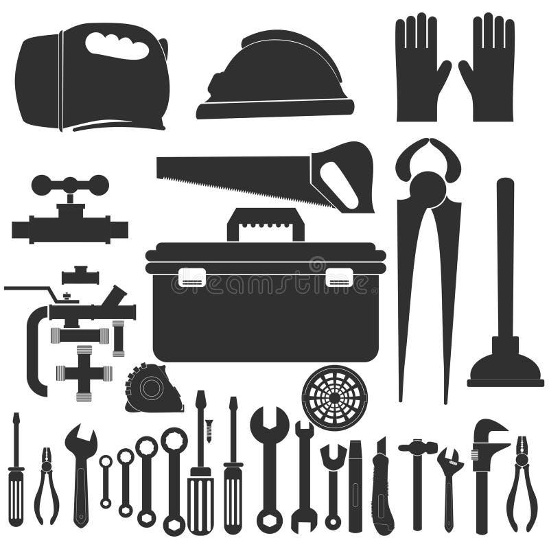 配管设备集合 修理工具 向量 图库摄影