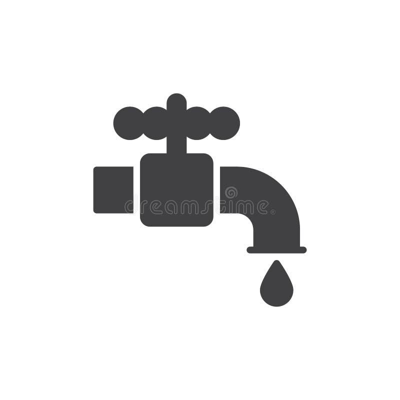 配管水龙头象传染媒介,被填装的平的标志,在白色隔绝的坚实图表 向量例证