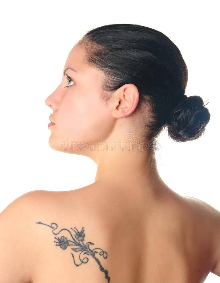 配置文件纹身花刺妇女 免版税库存图片