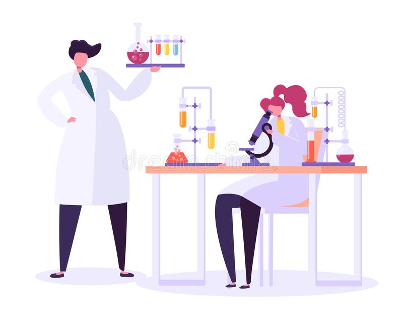 配药实验室研究概念 运作在化学实验室的科学家字符用医疗设备 向量例证