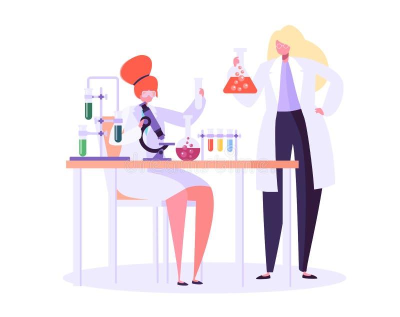配药实验室研究概念 运作在化学实验室的科学家字符用医疗设备 库存例证