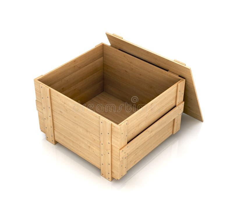 配件箱开放木 向量例证