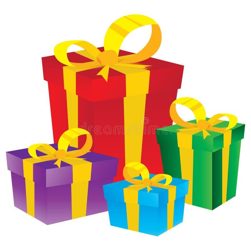 配件箱礼品查出的白色 背景配件箱五颜六色的礼品白色 库存例证