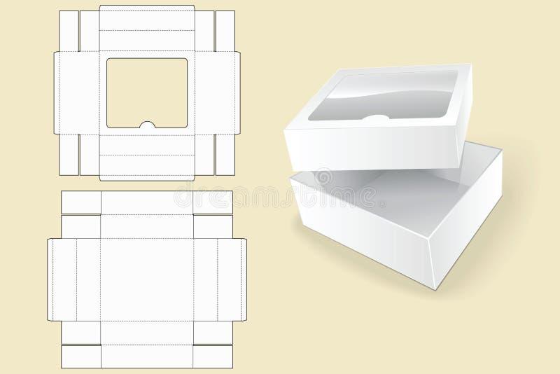 配件箱空的花卉标签模式模板 包装 空白纸板箱 被打开的白色纸板包裹箱子 皇族释放例证