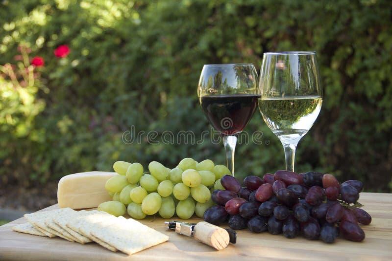 酒、葡萄、薄脆饼干和乳酪 库存图片