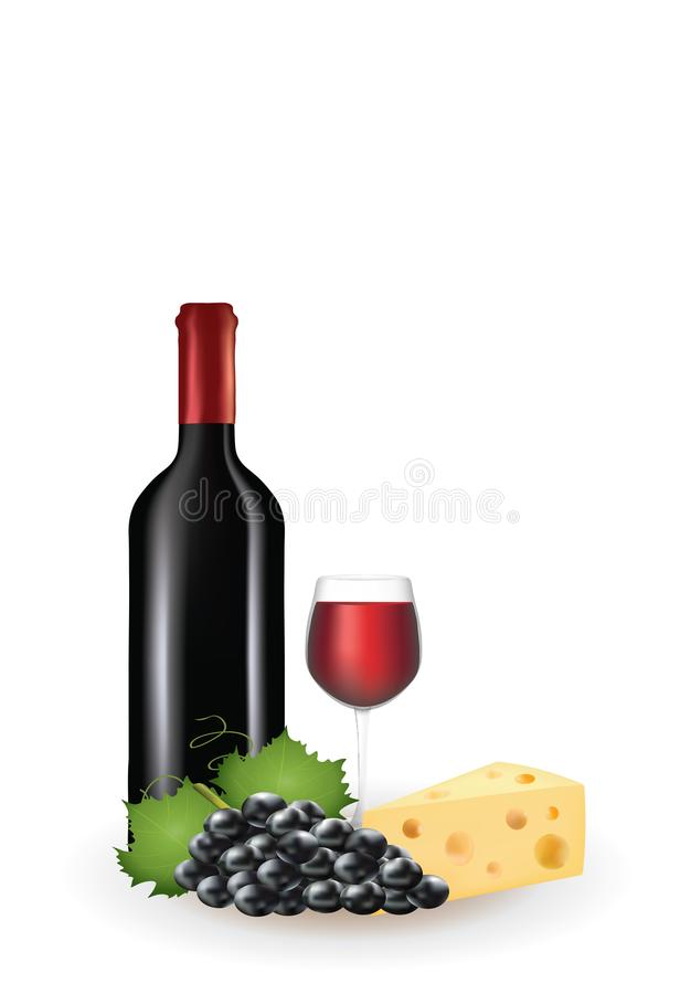 酒、葡萄和乳酪 向量例证