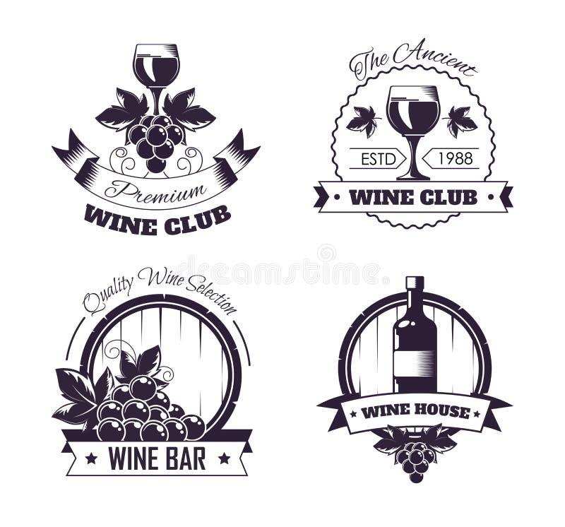 酒俱乐部房子商标模板或葡萄酒酿造酒吧商店标号组 向量例证