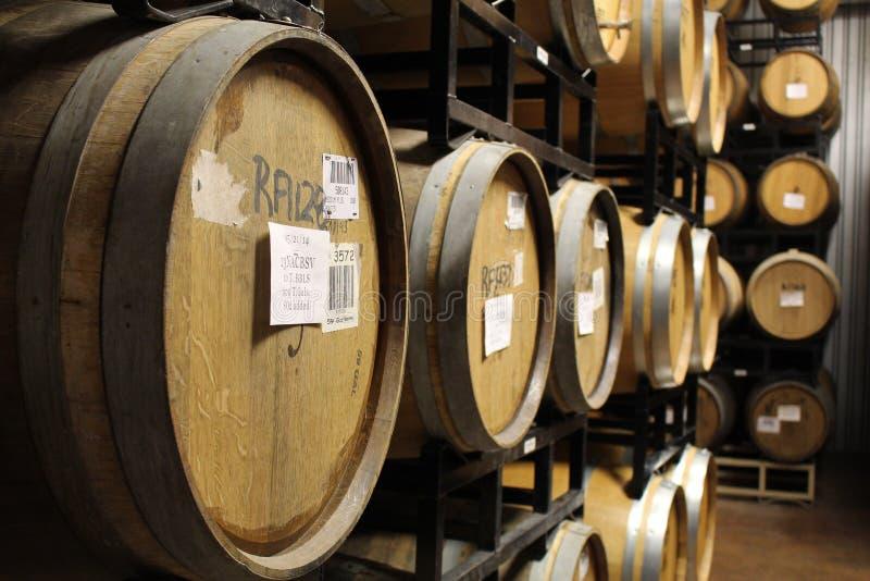 酒充满的酒桶桶行在酿酒厂地窖的 免版税库存图片