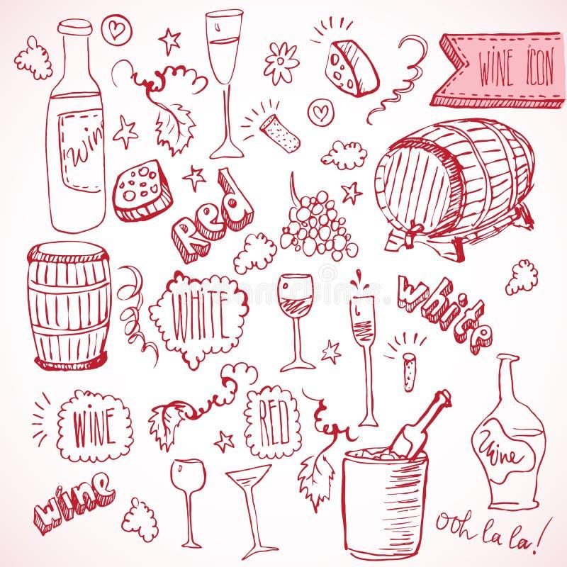 酒剪影和葡萄酒乱画 皇族释放例证