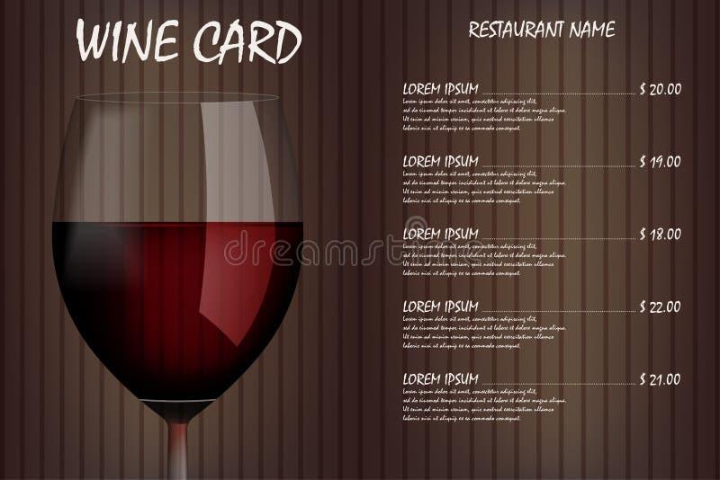 酒卡片与现实玻璃的菜单设计 餐馆酒类一览表饮料菜单,红色葡萄酒杯模板 也corel凹道例证向量 库存例证
