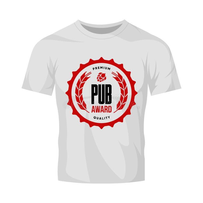 酒吧、在白色T恤杉嘲笑或者啤酒厂的现代工艺啤酒饮料传染媒介商标标志隔绝的客栈、啤酒酿造厂  皇族释放例证
