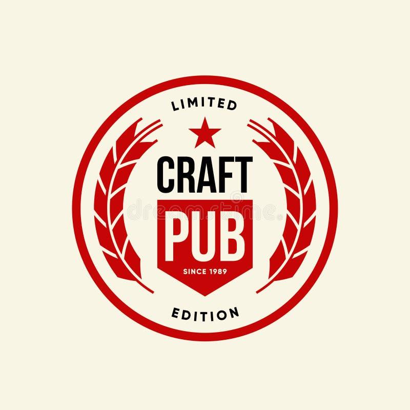 酒吧、在轻的背景或者啤酒厂的现代工艺啤酒饮料传染媒介商标标志隔绝的客栈、啤酒酿造厂 皇族释放例证