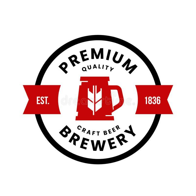 酒吧、客栈、在白色背景或者啤酒厂的现代圆的工艺啤酒饮料传染媒介商标标志隔绝的商店、啤酒酿造厂 库存例证
