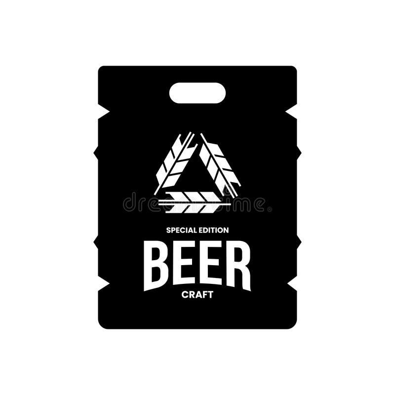 酒吧、客栈、在白色背景或者啤酒厂的现代工艺啤酒饮料传染媒介商标标志隔绝的商店、啤酒酿造厂 向量例证