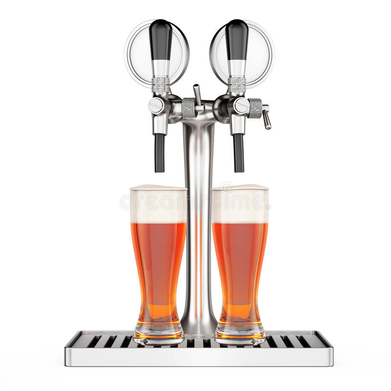 酒吧与啤酒杯特写镜头的啤酒轻拍 3d翻译 库存例证