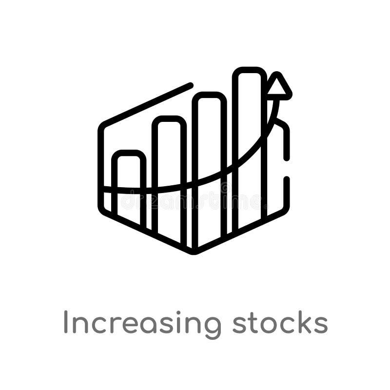 酒吧传染媒介象概述增长的股票图表  被隔绝的黑简单的从企业概念的线元例证 皇族释放例证