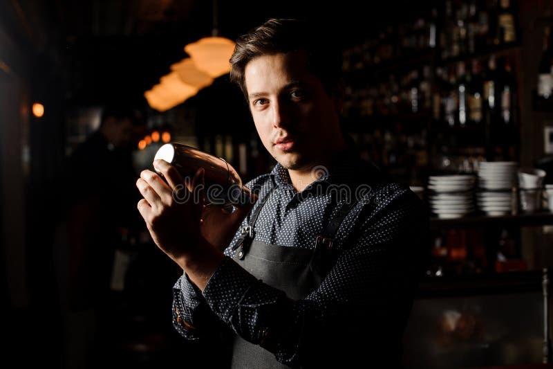 酒吧内部震动的和混合的酒精鸡尾酒的男服务员 免版税图库摄影