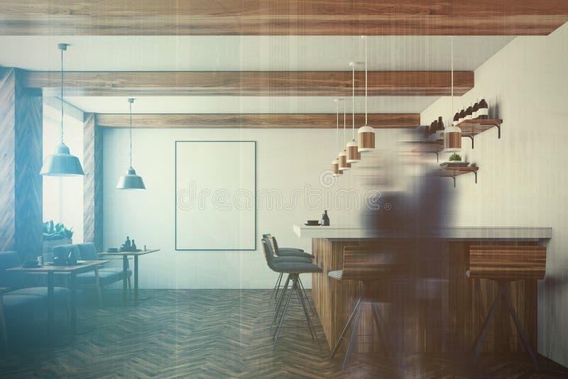 酒吧内部,海报,被定调子的扶手椅子 库存例证