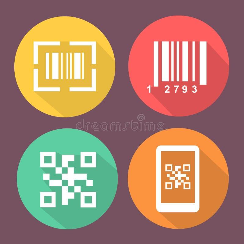 酒吧和Qr代码象 与扫描条形码的智能手机标志 有象的圈子平的按钮 皇族释放例证