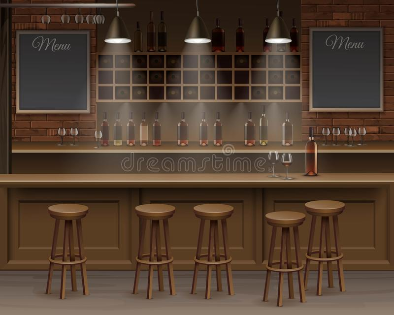 酒吧咖啡馆啤酒自助食堂柜台书桌内部传染媒介 向量例证