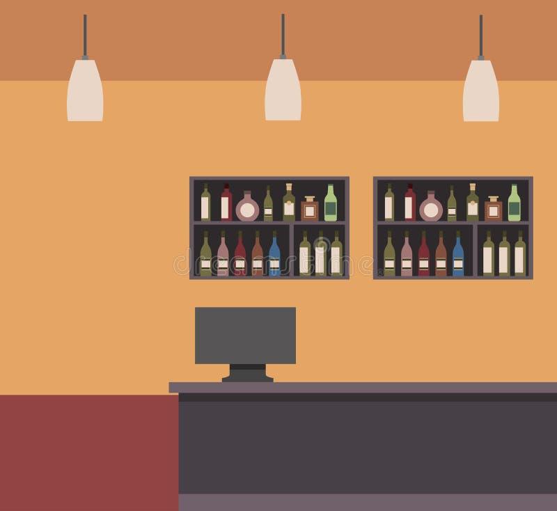 酒吧商店柜台计算机灯和架子瓶 皇族释放例证