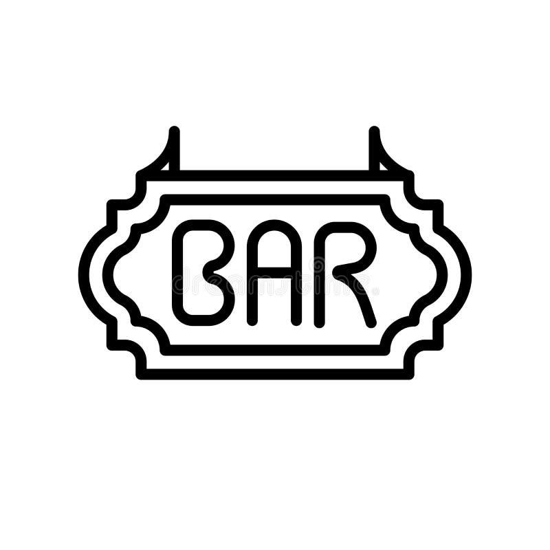 酒吧在白色背景、酒吧标志、线和概述元素隔绝的象传染媒介在线性样式 库存例证