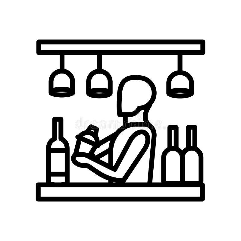 酒吧在白色背景、酒吧标志、线或者线性标志隔绝的象传染媒介,在概述样式的元素设计 向量例证