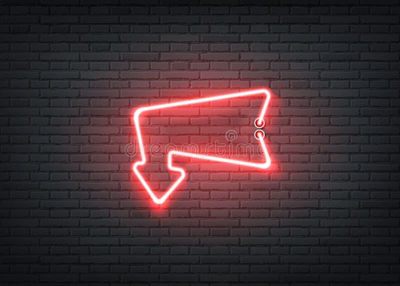 酒吧夜总会的传染媒介霓虹入口红色箭头 向量例证